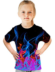 cheap -Kids Girls' Basic Street chic Color Block 3D Print Short Sleeve Tee Purple