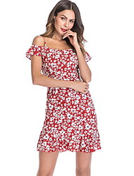 cheap -Women's Yellow Red Dress Daily Chiffon Geometric Strap S M