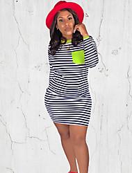 cheap -Women's Work Casual T Shirt Dress - Striped Basic Red Green S M L XL