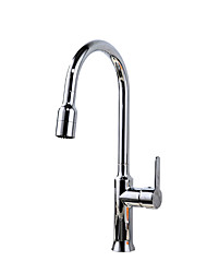 cheap -Kitchen faucet - Single Handle One Hole Chrome or Nickel Brushed Pull-out / Pull-down Centerset Contemporary Brass Deck Mounted Kitchen Taps
