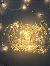 cheap -1PCS Battery Operated Pearl LED Copper Wire String Lights Pearlized Fairy Lights for Wedding Home Party Christmas Decorations 5M 50Leds