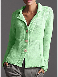 cheap -Women's Solid Colored Long Sleeve Cardigan Sweater Jumper, Turndown Purple / Yellow / Blushing Pink S / M / L