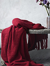 cheap -Bed Blankets / Sofa Throw / Multifunctional Blankets, Solid Color Acrylic Fibers Warmer Tassel Super Soft Blankets