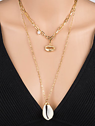 cheap -Women's Pendant Necklace Necklace Layered Necklace Stacking Stackable Shell Simple Classic Rustic Bohemian Pearl Chrome Shell Gold 60 cm Necklace Jewelry 1pc For Street Beach