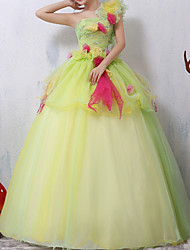 cheap -Ball Gown One Shoulder Floor Length Lace Floral / Peplum Prom / Quinceanera Dress with Sequin 2020