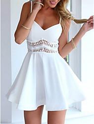 cheap -Women's Skater Dress - Solid Color Black White Blue S M L XL