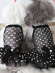 cheap -Dog Costume Dress Dog Clothes Breathable Rainbow White Black Costume Beagle Bichon Frise Chihuahua Fabric Polka Dot Voiles & Sheers Bowknot Stylish Casual / Sporty XS S M L XL