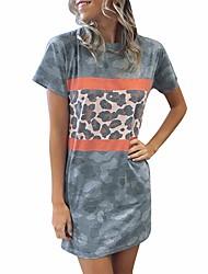 cheap -Women's Shift Dress - Color Block Blue S M L XL
