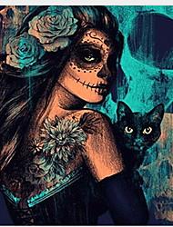 "cheap -New Full Diamond 5D DIY Diamond Painting ""Skull Cat Women"" Embroidery Cross Stitch Rhinestone Mosaic Painting Decor Gift 40*40cm"