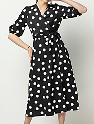 cheap -Women's Blue White Dress A Line Polka Dot V Neck S M