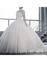 cheap -A-Line Wedding Dresses High Neck Sweep / Brush Train Tulle Lace Over Satin Long Sleeve Vintage See-Through Illusion Sleeve with Beading Appliques 2020