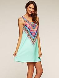 cheap -Women's A Line Dress - Geometric Black White Light Blue S M L XL