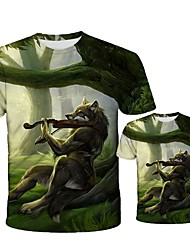 cheap -Plus Size Father Son Tee 3d t Shirt Summer Wolf Animal Printing Short Sleeve T-Shirt Blouse Tops Male Funny Plus Size Top