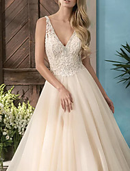 cheap -A-Line Wedding Dresses V Neck Sweep / Brush Train Lace Tulle Sleeveless Casual Plus Size with Beading 2021