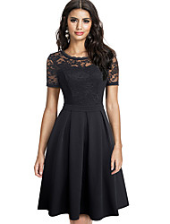cheap -Women's Daily A Line Dress - Solid Color Lace Patchwork Black Red S M L XL