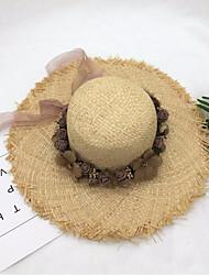 Недорогие -Жен. Классический Шляпа от солнца Солома,Однотонный Желтый