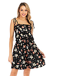 cheap -Women's Black Dress Boho Cute Daily Going out Loose Shift Floral Strap Print S M
