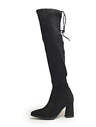 cheap -Women's Boots Chunky Heel Round Toe Suede Over The Knee Boots Fall & Winter Black