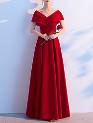 cheap -A-Line Empire Red Prom Formal Evening Dress V Neck Short Sleeve Floor Length Spandex with Ruched 2020