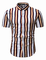 cheap -Men's Daily Basic Shirt - Striped Blue & White / Black & White, Print White