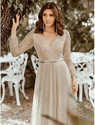 cheap -A-Line Elegant Formal Evening Dress V Neck Long Sleeve Floor Length Tulle with 2021