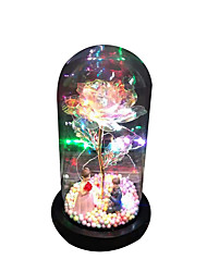 cheap -Couple Gold Foil Rose In A Glass LED Rose Lamps Birthday Gift Dome On A Wooden Base For Valentine's Gifts