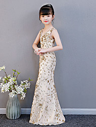 cheap -Mermaid / Trumpet Floor Length Wedding / Party / Pageant Flower Girl Dresses - Spun Rayon Sleeveless V Neck with Paillette