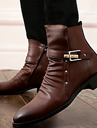cheap -Men's PU Fall & Winter Casual Boots Breathable Booties / Ankle Boots Black / Brown