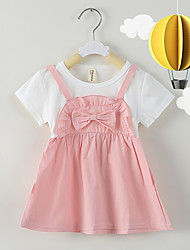cheap -Baby Girls' Basic Print Short Sleeve Knee-length Dress Blushing Pink