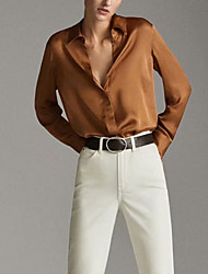 cheap -Women's Daily Blouse - Solid Colored Khaki
