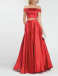 cheap -A-Line Off Shoulder Floor Length Polyester Bridesmaid Dress with Ruching