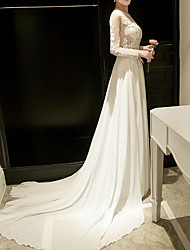 cheap -Sheath / Column Jewel Neck Court Train Polyester Empire / White Engagement / Formal Evening Dress with Appliques 2020
