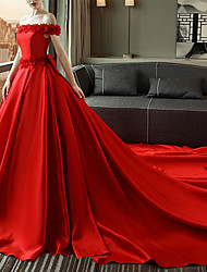 cheap -A-Line Wedding Dresses Off Shoulder Court Train Satin Short Sleeve Romantic Plus Size Red with Bow(s) Appliques 2020