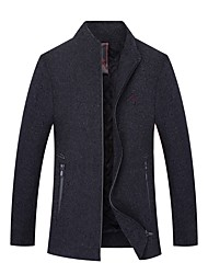 cheap -Men's Daily Fall & Winter Long Jacket, Solid Colored Stand Long Sleeve Polyester Brown / Gray