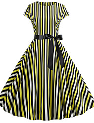 cheap -Women's Party Daily Vintage Style Street chic Swing Dress - Striped Patchwork Print Yellow Red S M L XL