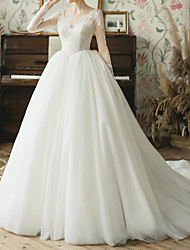 cheap -Ball Gown V Neck Watteau Train Lace / Tulle Long Sleeve Simple Elegant / Illusion Sleeve Wedding Dresses with Lace / Lace Insert 2020