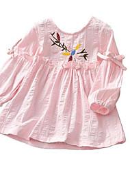 Недорогие -Дети (1-4 лет) Девочки Классический Цветочный принт Длинный рукав Блуза Белый
