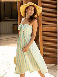 cheap -Women's Blue Dress Casual Daily Sheath Print Strapless Print S M Slim