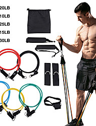 cheap -Resistance Band Set Exercise Resistance Bands 11 pcs 5 Stackable Exercise Bands Door Anchor Legs Ankle Straps Sports Latex Pilates Home Workout CrossFit Strength Training Muscle Building Physical