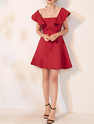 cheap -A-Line Sexy Red Homecoming Cocktail Party Dress Scoop Neck Short Sleeve Short / Mini Spandex with Ruffles 2020