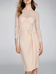 cheap -Sheath / Column Sexy Pink Wedding Guest Cocktail Party Dress Illusion Neck 3/4 Length Sleeve Knee Length Chiffon with Bow(s) Appliques 2020