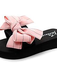 cheap -Women's Slippers & Flip-Flops Flat Heel Open Toe Bowknot Polyester Casual / Preppy Walking Shoes Summer Black / Red / Blue / Striped