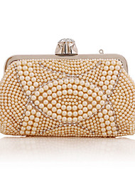 cheap -Women's Bags Polyester Evening Bag Pearls Crystals Solid Color Wedding Bags Wedding Party Event / Party White Champagne