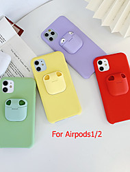 cheap -Case for iPhone 11Pro Max Bluetooth Earphones Air pods 1/2 Generation Storage Case Mobile Phone Case XS Max Pure Color Liquid Silicone 6/7 / 8Plus Drop Protection Case