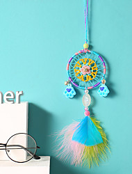 cheap -INS Dreamcatcher Car Pendant Fantasy Girl Heart Bear Palm Wind Chimes Rearview Mirror Ornament Creative Gift