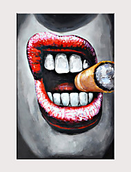 cheap -Hand Painted Canvas Abstract Oil Painting  Large Cigar Smoking Mouth Large Size Frameless Painting