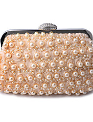 cheap -Women's Bags Polyester Alloy Evening Bag Pearls Crystals Solid Color Wedding Bags Wedding Party Event / Party White Black Champagne