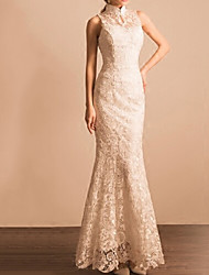 cheap -Mermaid / Trumpet Wedding Dresses High Neck Ankle Length Lace Sleeveless Beach with Lace Insert Embroidery 2020