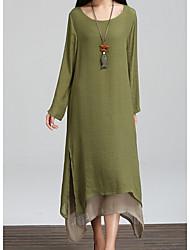 cheap -Women's Maxi Army Green Orange Dress Shift Color Block Solid Color M L Loose