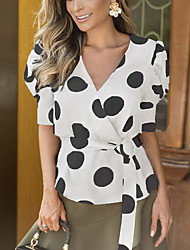 cheap -Women's Daily Going out Street chic / Elegant Shirt - Polka Dot Lace up / Patchwork / Print Black